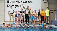 The Mayor and swimmers