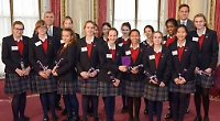 Queen Anne pupils with Prince Andrew and Peter Jones