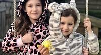 Girl inspired by her leopard onesie wins egg competition