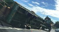 Crash barrier wrecked by trailer