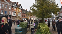 Crowds keep their distance at Remembrance Service