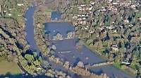 Bird's eye view of Thames in flood