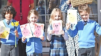 Children deliver Easter cards to care home residents