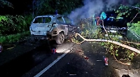 Car catchesfire following collision