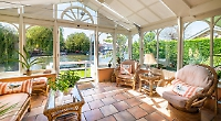 Riverfront cottage's view of the bridge can't be beaten