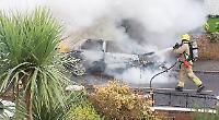 Car ablaze near closure-threatened fire station