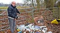Father angry after trade waste is dumped on Thames Path