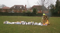 Pupils recreate Great Fire of London on school playing field