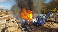 Tractor destroyed in sawmill blaze