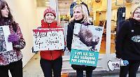 Anti-fur protestors stage demonstration outside shops