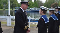 Sea and air cadets line up for inspection