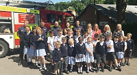 Pupils visited at school by fire crew