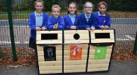Pupils learn to be green with playground recycling bin