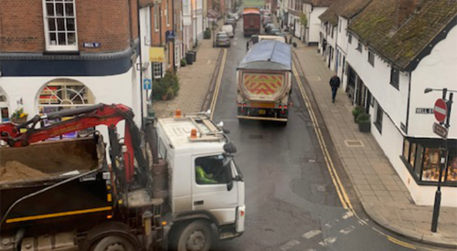 Lorries in the town centre, image courtesy of Neil Wilson